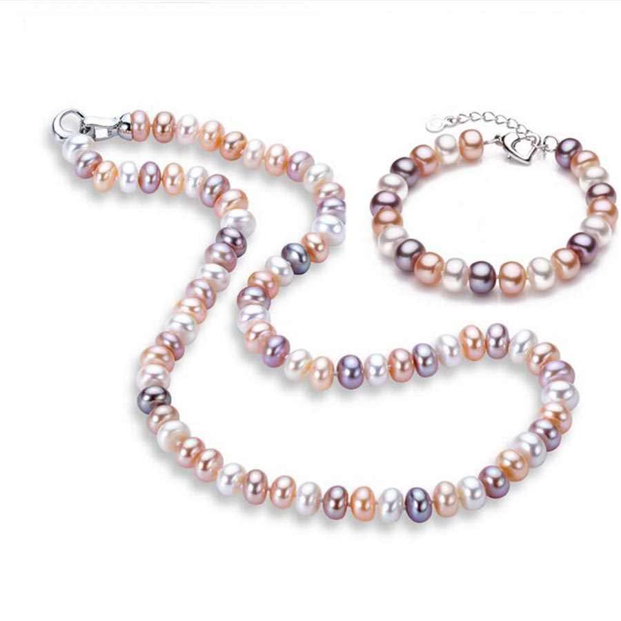 Veamor คุณภาพสูงธรรมชาติ Pearl ต่างหู/สร้อยข้อมือ/แหวน 925 เงินสเตอร์ลิงหัวเข็มขัดสร้อยข้อมือต่างหูพู่ชุดเครื่องประดับ