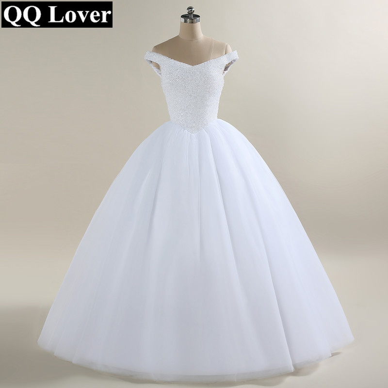 QQ Lover New Arrival Full Beading off shoulder Ball Gown Wedding Dress Custom made Wedding Gowns