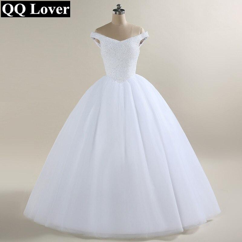 QQ Lover Nuovo Arrivo Pieno Che Borda off spalla Abito di Sfera Abito Da Sposa Su Ordine Abiti Da Sposa