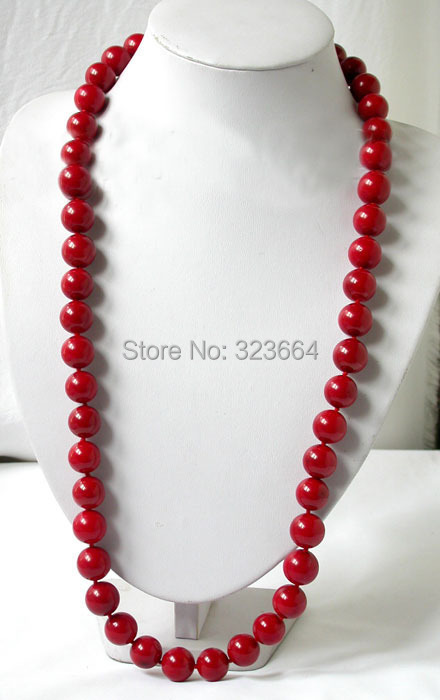 biger 32 15mm round red natural coral Necklace natural red coral with silk knot design necklace