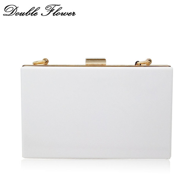 online store 78d51 a6f46 US $16.49 12% OFF|Double Flower Solid White Color Acrylic Women Evening  Bags Box Clutch Hard Case Metal Chain Shoulder & Crossbody Handbag Purse-in  ...