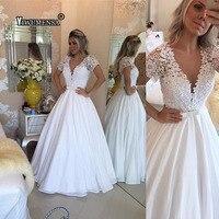 Bride Dresses Vestido de noiva Vintage short Sleeve Lace Ball Gown Wedding Dress Nude Tulle pearls wedding gown Robe de mariage