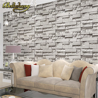 Wallpaper 10M Roll 3D Real Look Realistic Brick Wall Wallpaper White Grey Real Deep Embossed Textured