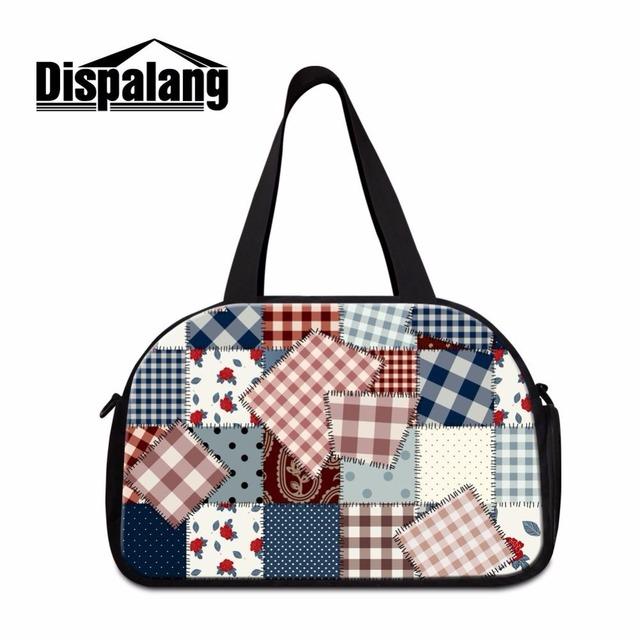 Dispalang mulheres sacos de fim de semana com sapatas independentes padrão patchwork duffle viagem saco de viagem bagagem bolsa de viagem personalizado