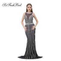 O Neck Open Back Mermaid Accented Bling Beading Tulle Elegant Dress Long Formal Women Evening Dresses Prom Party Robe Longue