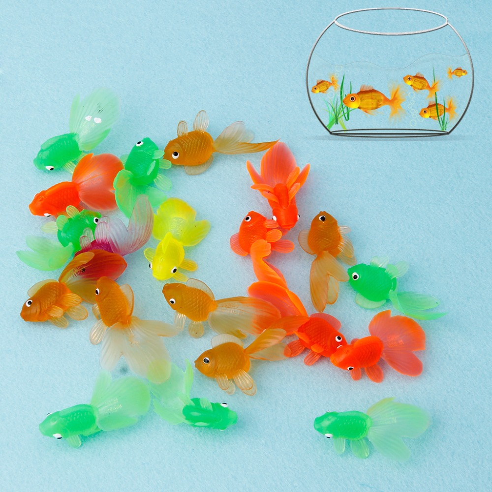 цены HBB 20pcs Rubber Simulation Small Goldfish Gold Fish Kids Toy Decoration Bath Toy