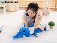 lovely prone elephant plush toy large 60cm cartoon blue elephant down cotton soft doll throw pillow birthday gift s0193