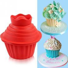 3 יח\סט אחת פרח צורת Cupcake סיליקון עובש חום עמיד לאפות כלים אפיית יצרנית סיליקון ענק Cupcake עובש חם חדש