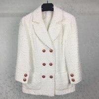 Зимняя куртка короткие Для женщин взлетно посадочной полосы куртка шерстяное пальто 2017 Дамы Белый Двубортная куртка