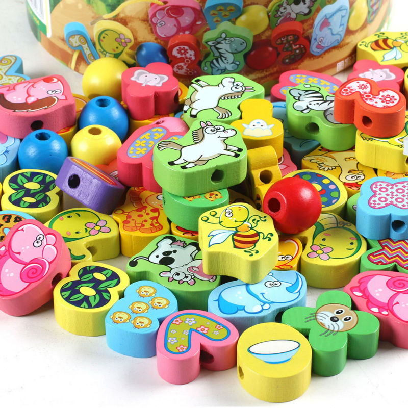 Free delivery factory price 63PCS grain of fruit digital and animal figures cognitivebead blocks, wooden toy, Combining Matching