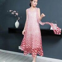 Silk Vintage Office Dress Fashion Women Summer Chiffon Large size Dress Sleeveless polka dot elegant Long Ladies Dresses aa630