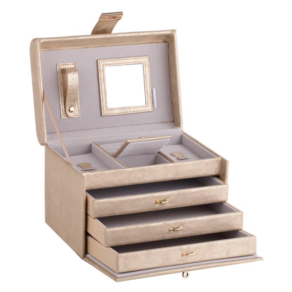 ROWLING Or Miroir Bijoux Boîtes Anneau Colliers Bracelet 3 Tiroirs Cas En Cuir Velours Organisateur Affichage Femmes Fille Cadeau Serrure - 4