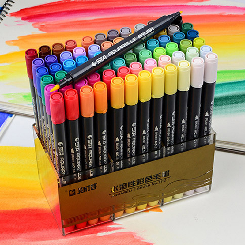 STA Dual Brush Water based Art Marker Pens with Fineliner Tip 12 24 36 48 Color Set Watercolor Soft Markers for Artists Drawing touchnew 60 colors artist dual head sketch markers for manga marker school drawing marker pen design supplies 5type