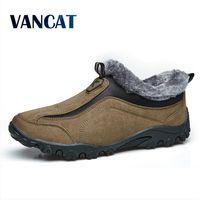 VANCAT Men Boots Winter With Fur 2017 Warm Snow Boots Men Winter Boots Work Shoes Men