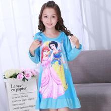 Осеннее детское платье для сна ночная рубашка для маленьких девочек Детская ночная рубашка принцессы с длинными рукавами и рисунком детская Ночная юбка