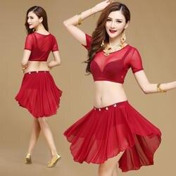 Продвижение 2017 бросились живота Танцы костюм предложение Для женщин хлопок женщина Индии площади живота Танцы костюмы топ и юбка