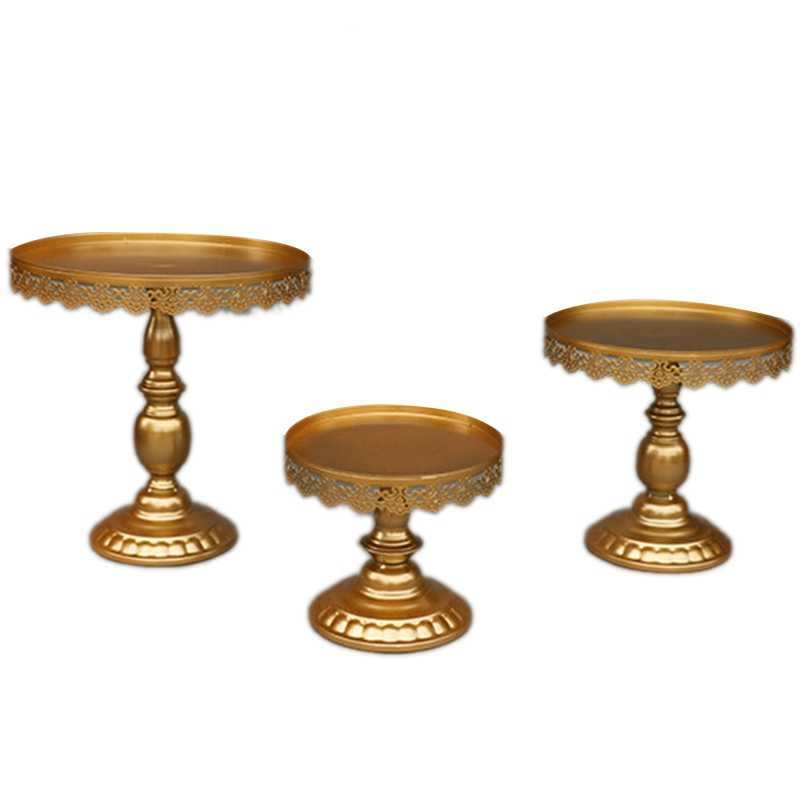 Best 3Pcs/Set Gold Cupcake Cake Stand Dessert Candy Bar Metal Cake Stand Wedding Party Plate Birthday Party Cake Decoration To
