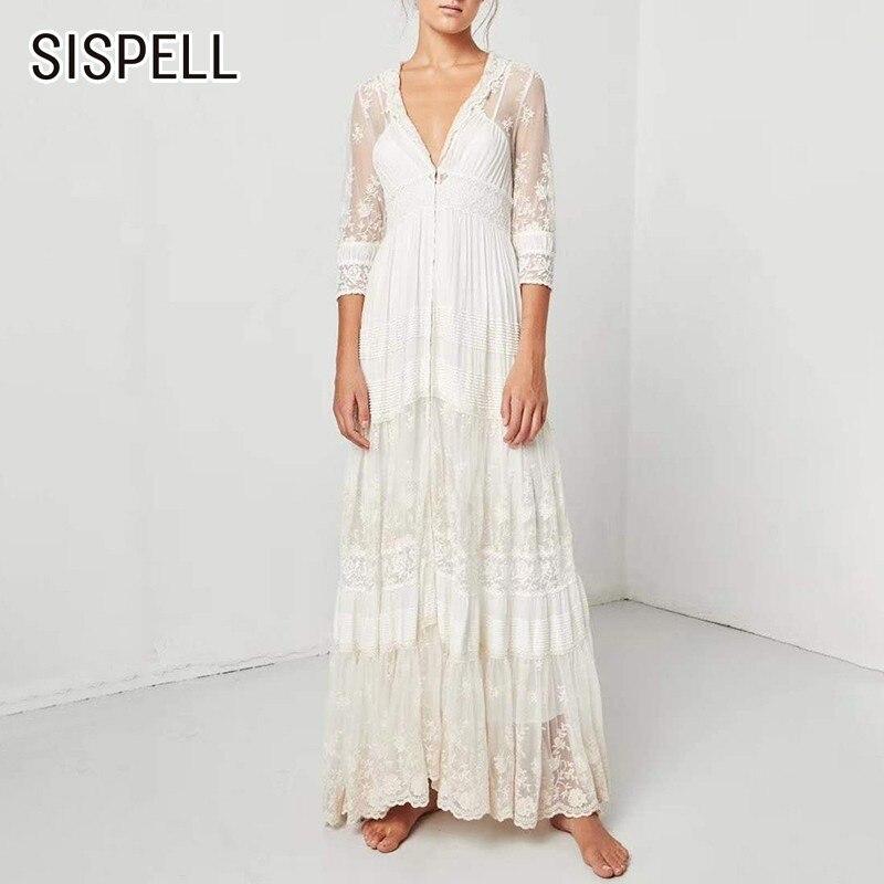 SISPELL 2019 été broderie étage longueur robe pour femmes col en V poignet manches Perspective femme robes une ligne mode nouveau