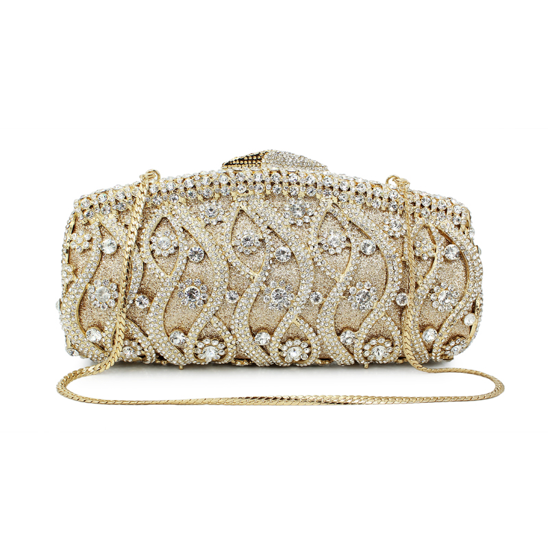 Gold Women Clutches Bag Silver Diamonds Wedding Evening Bags Gold Luxury Crystal Handbags Party Purse With Chain(8622A-GS2) new women crystal luxury evening handbag clutch bag for wedding party diamonds lemon yellow with gold chain b1034 g
