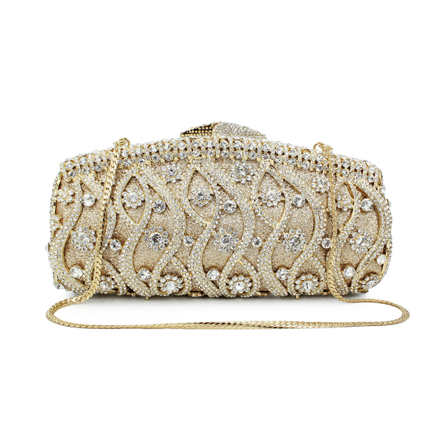 Gold Women Clutches Bag Silver Diamonds Wedding Evening Bags Luxury Crystal Handbags Party Purse With