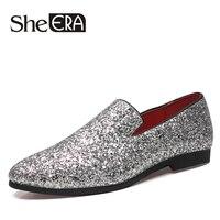 She ERA Handmade Sequin Cloth Men Leather Shoes Mocassin Homme Slip on Men Loafers Elegant Comfortable Shoes Man Footwear