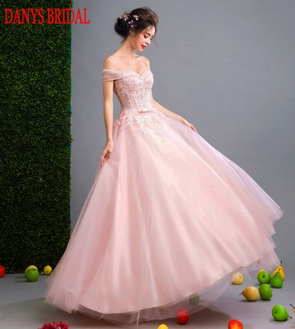 Pink Long Lace Evening Dresses Party A Line Beautiful Beaded Women ...
