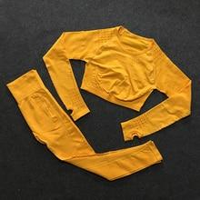 Спортивный комплект из 2 предметов, тренировочная одежда для женщин, безупречный трикотажный топ с длинным рукавом+ бесшовные леггинсы, комплект из 2 предметов для йоги