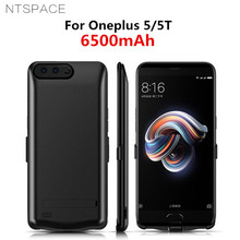 NTSPACE 6500mAh External Battery Charger Cases For Oneplus 5 5T Case Portable Power Bank Charging Stand Back Cover