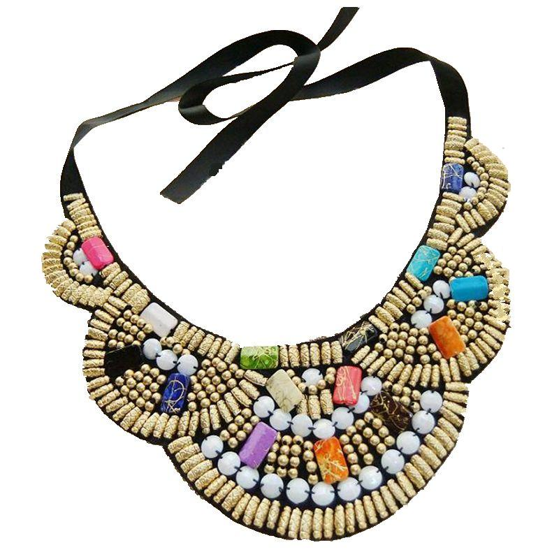 CirGen Fashion Handmade Choker Boho Women Ribbon Face Colorful Wood Beads Cloth Statement Collar Bib Necklace Jewelry Item,AF053