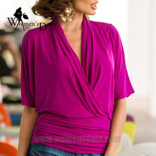 WomensDate 2017 New Spring Fashion Women's Sexy Deep V Neck Half Sleeve Loose Tops T Shirt Female Casual Bat Sleeve T-Shirts