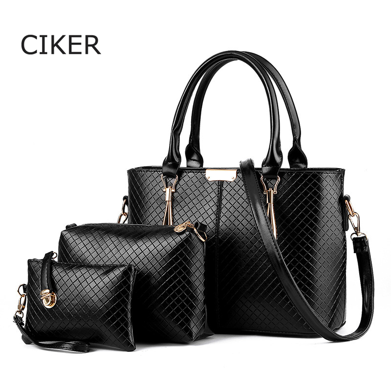 ФОТО CIKER Brand Famous Designer Women Handbags Pu Leather Shoulder Bags Purses and Handbags Tote Messenger Bags Sac a main 3pcs/set