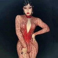 Sparkly Red Rhinestones Bodysuit Women Dance Costume Party Birthday Jumpsuit Sexy Club Performance Female Singer Stage Wear