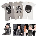 New 2016 Fashion Baby Boy Clothes Monster Short Sleeve Baby Rompers Newborn Cotton Baby Girl Clothing Jumpsuit Infant overalls