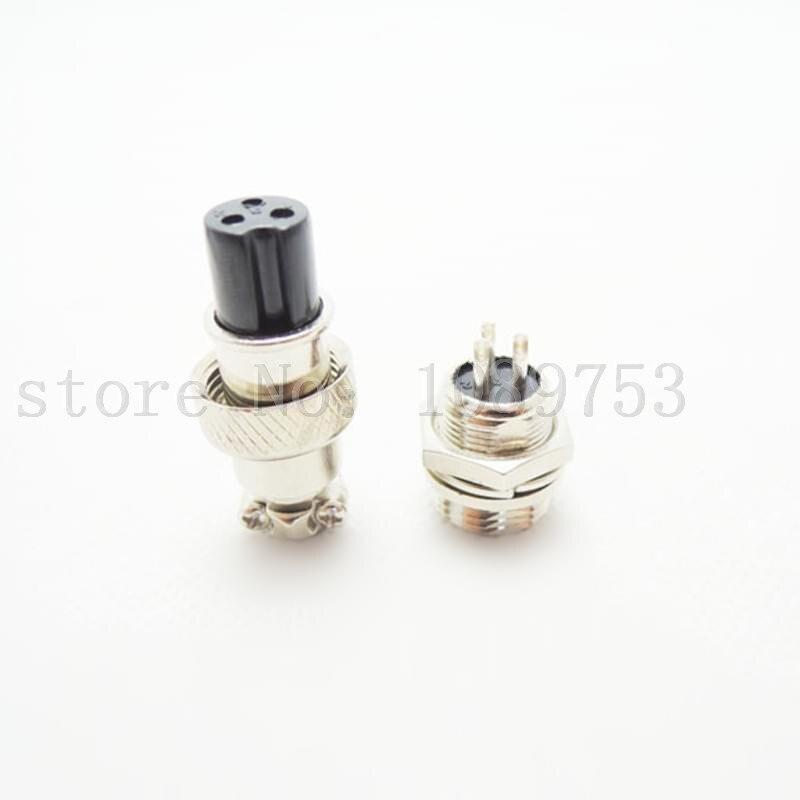 50Pair Aviation Plug GX12 12mm 3Pin Male + Female Panel Metal Thread RS765 Connector