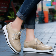 Womens Genuine Leather Oxford Shoes Low Top Platform Brogue Casual Leisure Oxfords Flats for Ladies