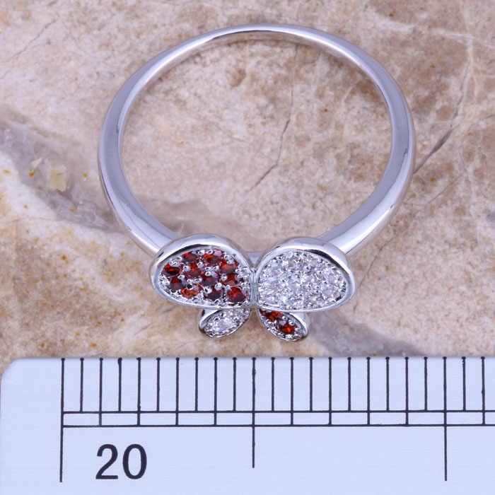 ระยิบระยับสีแดงโกเมนสีขาวCZเงินผีเสื้อผู้หญิงแหวนขนาด6/7/8/9 E543