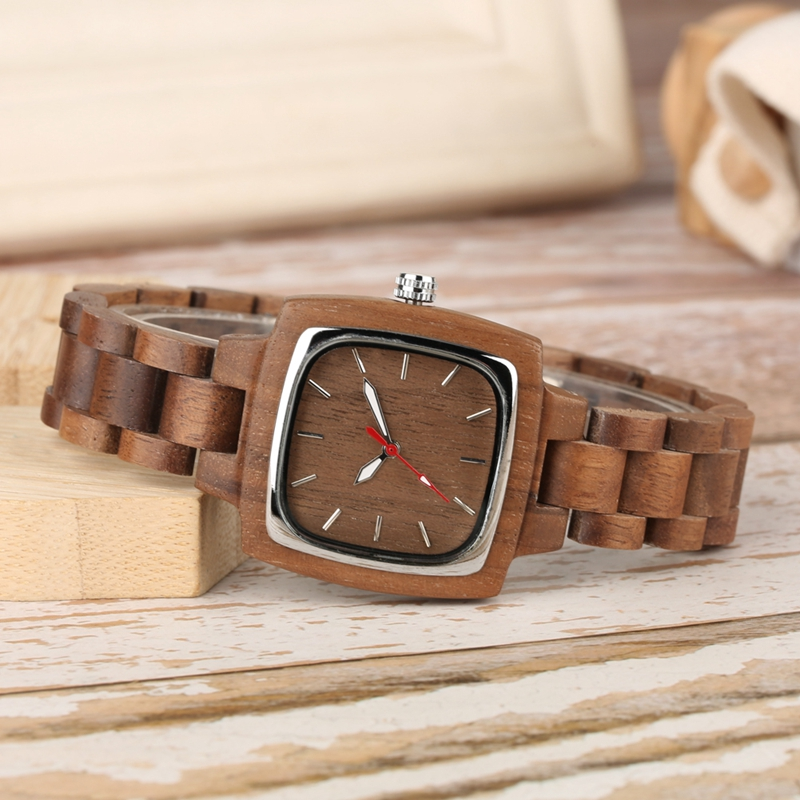 Retro Wood Women Watch Unique Square Circle Dial Design Full Wooden Bracelet Woman Ladies Clock Quartz Wristwatch dames horloges 2019 2020 2022 (5)