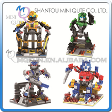 Full Set 4 pcs Mini Qute GEM Super hero robot Bumblebee plastic building blocks bricks cartoon model education educational toy