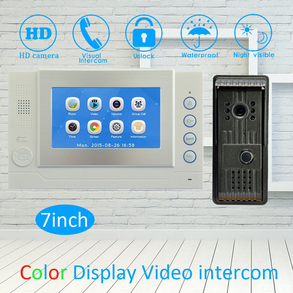 (1 Set) Touch panel wire video door phone 7 LCD Screen Waterproof Outdoor unit with HD Camera Night version Calling System