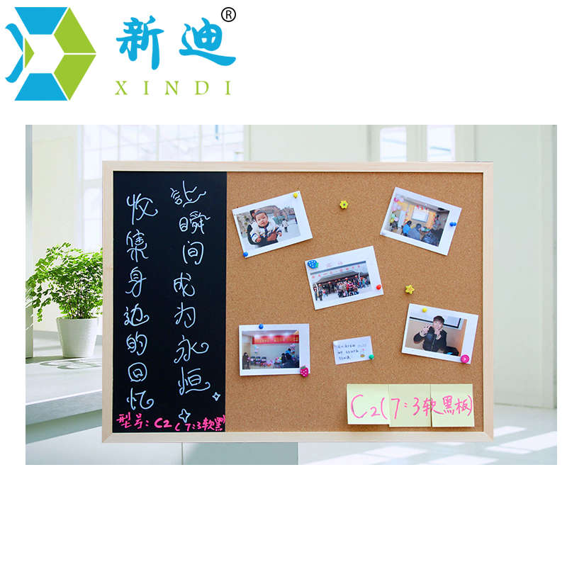 New 30*40cm Bulletin Board Blackboard Cork Board Combination 1:3 Wooden Frame Message Board Home Photos Write Notes Chalkboard 4