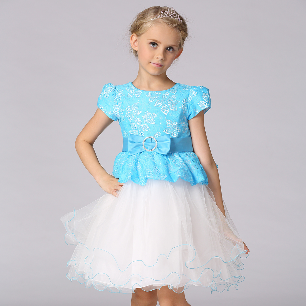 Wholesale China style fake two piece dress girl princess party lace ...