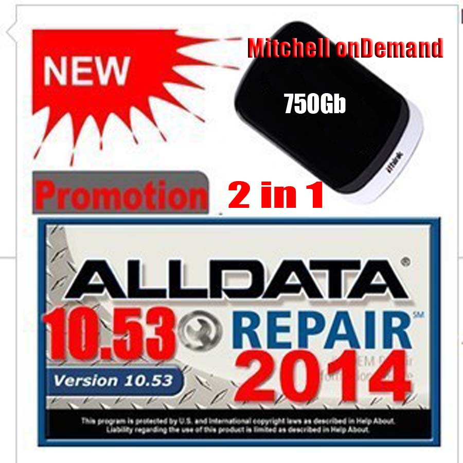 Hot selling free shipping 750G HDD with 2014 Newest Car Repar Diagnostic Software alldata V10 53