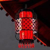 Праздничные Свадебные украшения китайский стиль фонарь водонепроницаемый открытый подвесной светильник кованого железа клетка для птиц