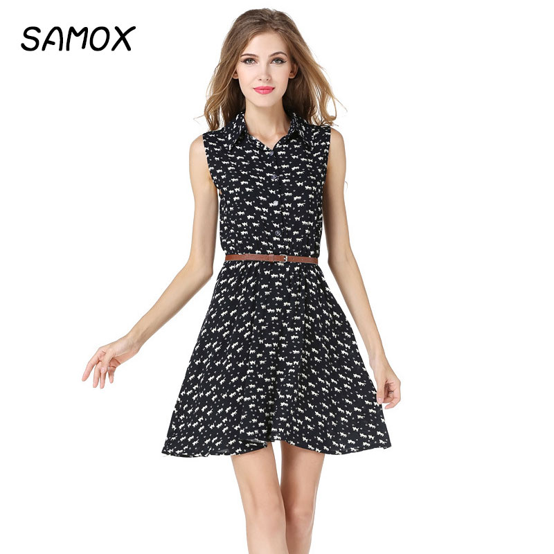 JSMY 2019 New Summer Fashion Women Cat Printing Party Black Short Dress in Dresses from Women 39 s Clothing