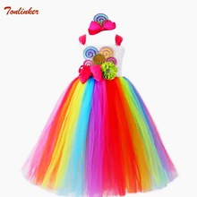 Girls Candy Rainbow Tutu Dress Sweet Lollipop Tulle Dresses Flower Birthday Party Outfit for Kids cosplay Pageant Theme Toddler handmade babies rainbow tutu bowknot toddler little girls pageant dresses soft net organza short mini cupcake girls dresses