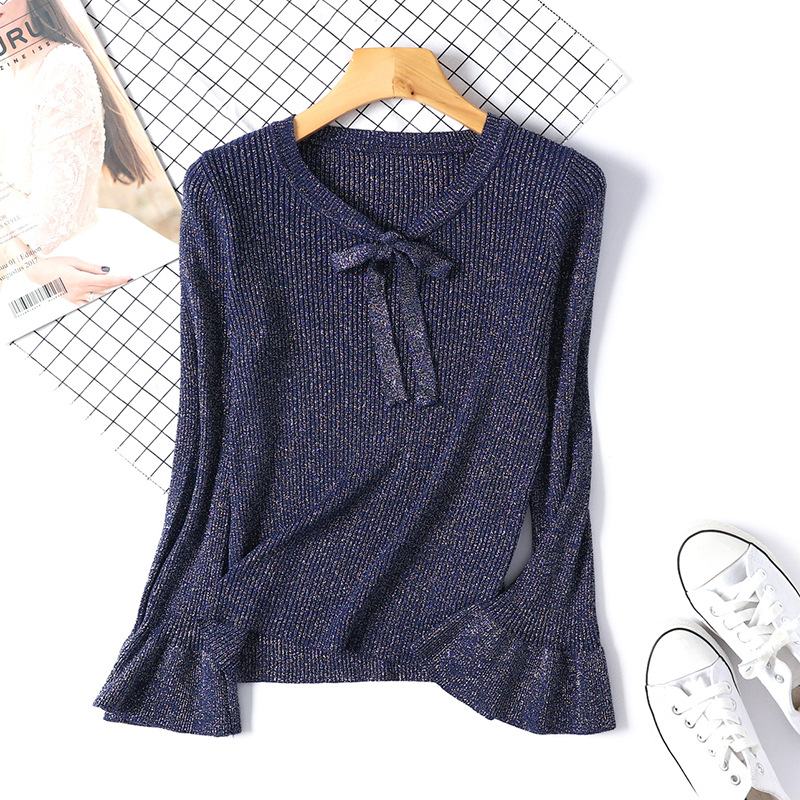 New Fashion Shiny Women Knitted Sweater Long Sleeve Ruffle Knitting Pullover Lace Bow Flare Women Basic Sweaters D360