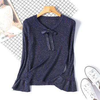 New Fashion Shiny Women Knitted Sweater Long Sleeve Ruffle Knitting Pullover  Lace Bow Flare Women Basic Sweaters D360 bow tie neck ruffle sweater