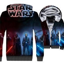 Movie Star Wars Jedi Mens 3D Jackets 2019 Winter Casual Men Hoodies Fashion Brand Thick Fleece Warm Sweatshirts Zipper Coat