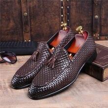 54b38b19c Moda Marrom Tan/Preto Woven Projeto Verão Mocassins Noivo de Casamento Dos Homens  Sapatos de