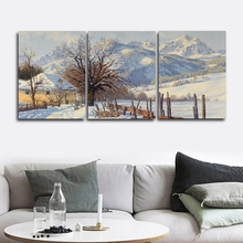 Laeacco 3 Panel Winter Mountain Posters and Prints Wall Art Nordic Home Living Room Decor Canvas Calligraphy Painting